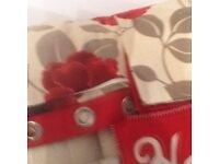 Red Pansy Curtains 66 x 90 drop Linen - Lined