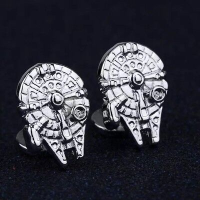 Silver Star Wars Falcon Cufflinks Formal Wedding Business Gift for Suit Shirt