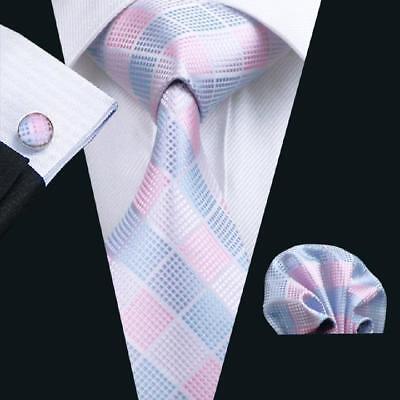 USA Pink Blue Plaid Check Men's Necktie  Silk Tie Set Hanky Cufflinks - Blue Plaid Silk Necktie