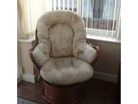 Conservatory swivel/rocker chairs x2 dark wood,beige cushions