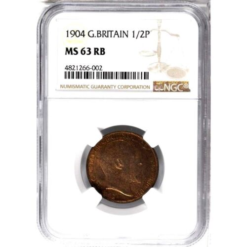 1904 Great Britain 1/2 Penny, NGC MS 63 RB, Better Date