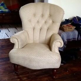 Derwent Chesterfield Button Style Wing Back Queen Anne Fabric Golden Hue Chair