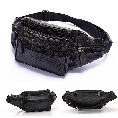 Men's Leather Waist Fanny Pack Bum Adjustable Belt Bag Pouch Travel Hip Purse