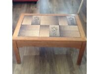 Solid wood tiled coffee table