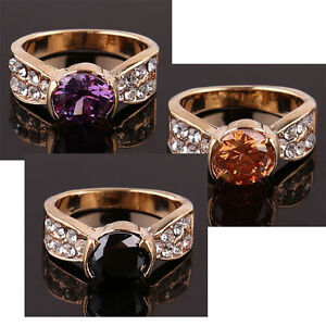 14k Gold Filled Austrian Crystal Rings 8.5, 9, 9.25 - New