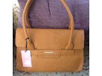 Soft tan leather handbag