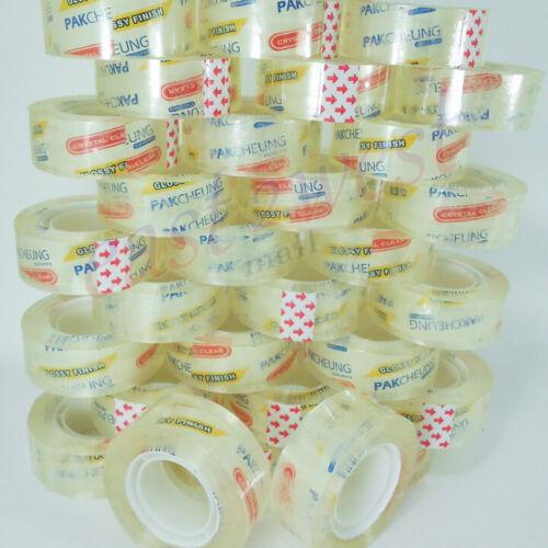 "50 Rolls Transparent Crystal Clear Tape 3/4""x1200""  Dispenser Refill 1"" Core NEW"