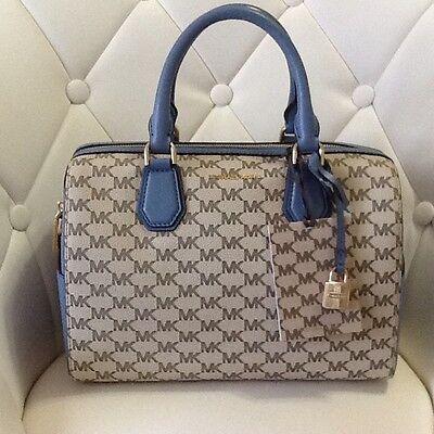 Michael Kors Mercer Medium Duffle Bag Satchel Natural/Denim Women's Handbag NWT