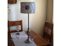Brushed satin tall table lamp