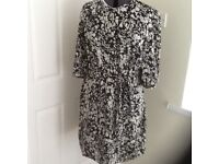 M & S black and white dress size 18