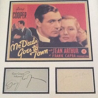 Jean Arthur & Gary Cooper SIGNED Cards with Photo Matted & Framed Mr Deeds Capra