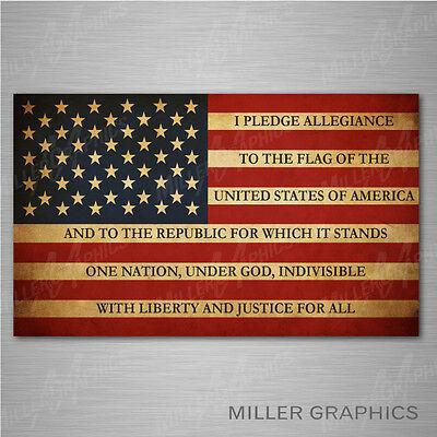 - American Flag Pledge of Allegiance Decal Sticker Graphic Car Truck SUV - 3 sizes