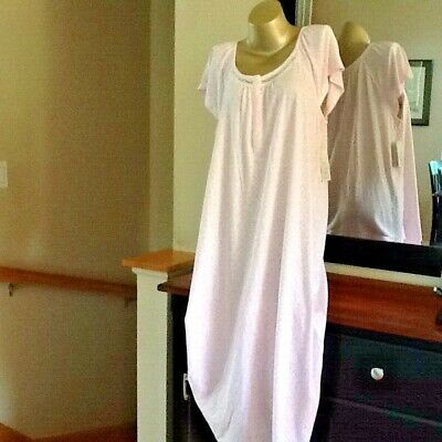 Croft & Barrow Knit Cotton Blend Short Sleeve Pink Long Nightgown  Size Large Cotton Short Sleeve Gown