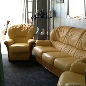 Three piece leather suite.mustard colour.good condition.£175.00