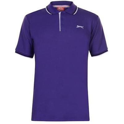 ✅ SLAZENGER Herren Poloshirt TShirt Fitnessshirt Polohemd Fitnesshemd Lila TIP