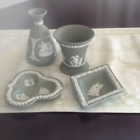 Wedgewood green vases and small plates