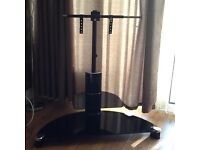 2 TIER CURVED BLACK GLASS TV STAND