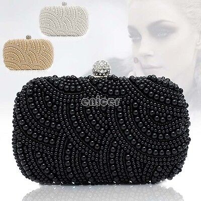 Mujer Perla Bolso Bolsa De Mano Boda Fiesta Bag Handbag Moda ENE