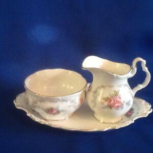 Royal Albert Tranquility Cream & Sugar on Tray