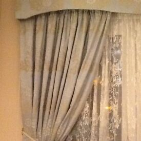 Fully Lined Bedeck Curtains in Duck Egg Blue/ Ivory with matching Accessories