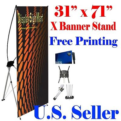 X Banner Stand 31 X71 Free Graphic Print Trade Show Display Free Bag Pop Up M