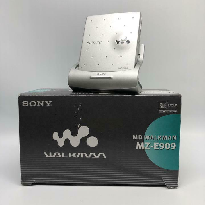 SONY MZ-E909 Walkman MD Player w/Remote & AC Blue TESTED Working Good F/S