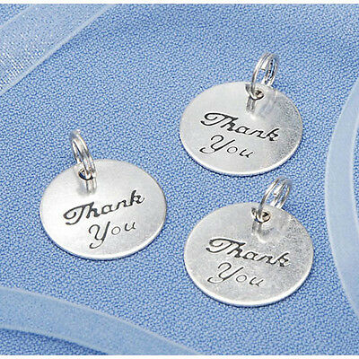 40 PCS SILVER ROUND THANK YOU CHARMS WEDDING BRIDAL SHOWER FAVORS –VICTORIA - Bridal Shower Thank You Favors