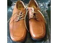 Brand New Unworn Men's Brown Leather Shoes Size 9 & 2 extra pairs free .