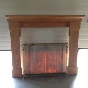 Oak Fireplace Mantel and piilars  with Fire screen