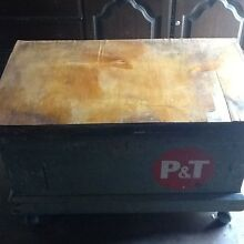 Vintage Solid Wood Toolbox / Trunk on Wheels   4 Removable Trays Woodridge Logan Area Preview