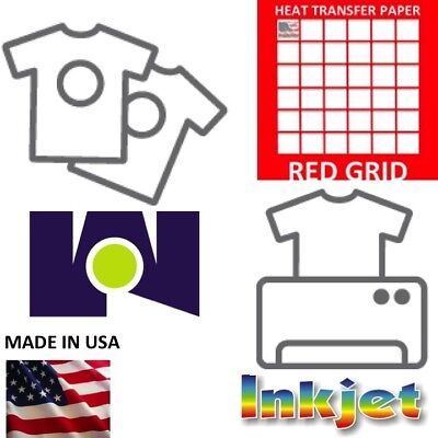 Heat Transfer Paper Red Grid Iron On Light T Shirt Inkjet Paper 100 Pk 8.5x11