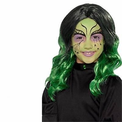 Mädchen Kinder Perücke Schwarz und Grün Halloween Böse Hexe Kostüm Zubehör (Schwarz Und Grün Hexe Kostüm)