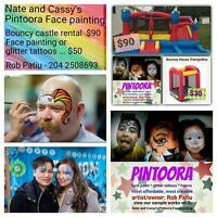 bouncy castle, bouncer, face painting, glitter tattoos, parties,