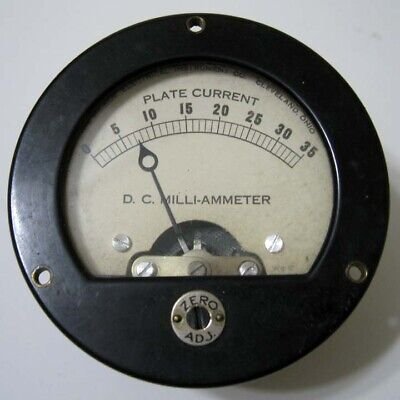 Hickok 0 - 35 Dc Ma Plate Current - Round Black Panel Meter - For Display Only
