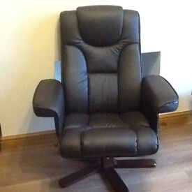 Swivel reclining chair and footstool