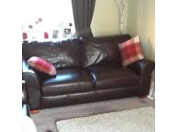 Leather Chocolate Brown 3 and 2 seater Sofas only 18mths old