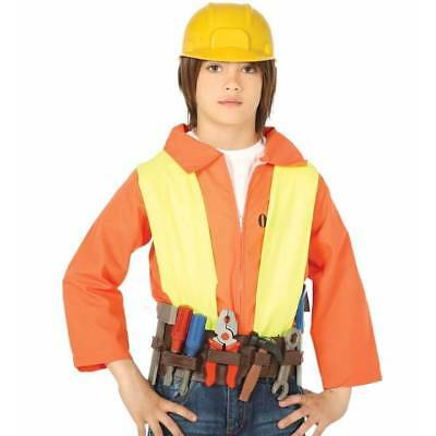8 Kids Accessories Belts - Kids Bob the Builder Tool Belt ,8 Tools & Helmet Construction Fancy Dress Toy