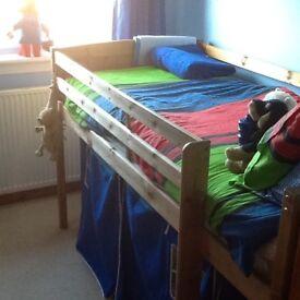 Kids solid pine mid sleeper bed.