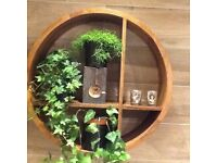 Round wooden shelf made of solid Teak. Price £100. In perfect condition.