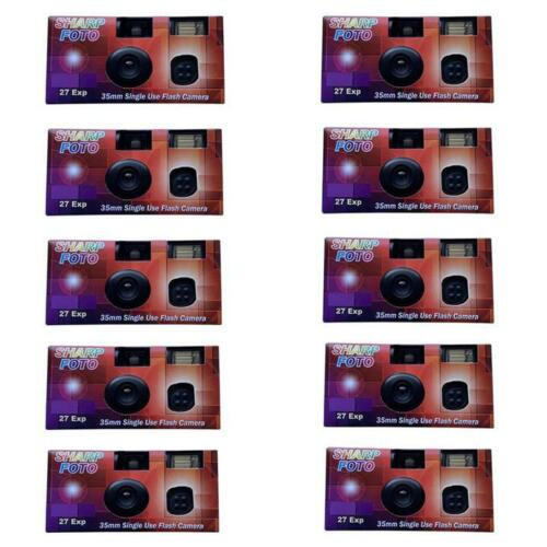 10-Pack Sharp Foto Disposable Flash Camera 35mm Film 27exp ISO 200 EXP 8/2023