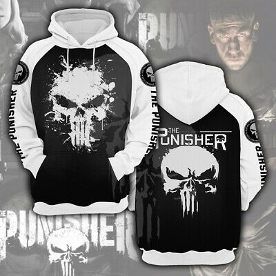 The Punisher Costumes (The Punisher Hoodie 3D Print Pullover Cosplay Costume Sweatshirt Casual)
