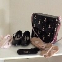 Girls ballet and tap shoes with case