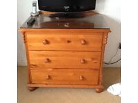 Lovely pine double bed frame and chest off drawers