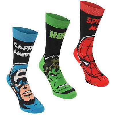 MARVEL COMICS SPIDERMAN HULK CAPTAIN AMERICA SOCKS SOCKEN 3 PACK STRÜMPFE SHIRT (Herren-socken Spiderman)