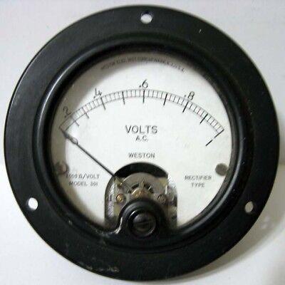 Weston 0 - 1 Volts Ac A.c. Model 301 Round Black Rectifier Type Panel Meter