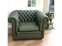 Chesterfield Leather Armchair. Traditional Dark Green Button Back.