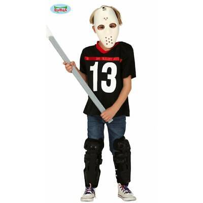 Kids Jason Shirt & Hockey Mask Friday 13th Halloween Fancy Dress