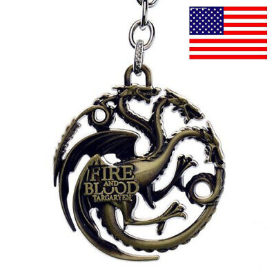 Dragon Key - US! Game Of Thrones House Targaryen Dragon Badge Keychain Metal Key Ring Jewelry