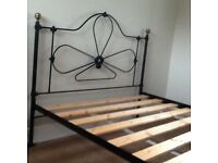 Black steel double bed frame/ collect only