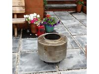 GARDEN FIREPIT/CHIMINEA,CHROME WASHING MACHINE DRUM,UP-CYCLE